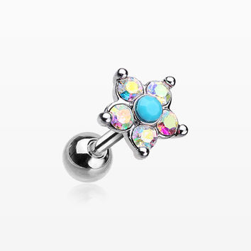 Starburst Turquoise Sparkle Flower Cartilage Tragus Earring