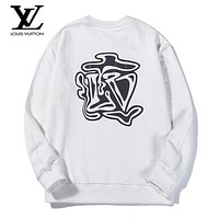 LV Louis Vuitton New fashion reflective letter print couple long sleeve top sweater White