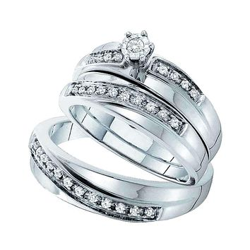 14kt White Gold His & Hers Round Diamond Solitaire Matching Bridal Wedding Ring Band Set 1/4 Cttw - FREE Shipping (US/CAN)
