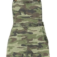Camo Print Denim Pinafore Dress | Boohoo