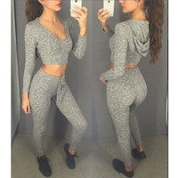 Women's Fashion Sports Casual V-neck Crop Top Hot Sale Hats [28275146778]