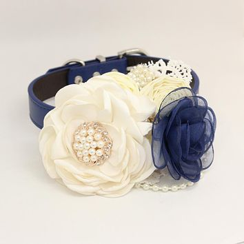Patience Ivory Navy Flower dog collar, Pet wedding accessory, Pearls Rhinestone