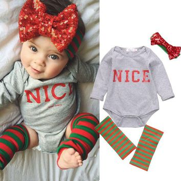 4pcs Newborn Toddler Baby Girls Kids Clothes Long Sleeve Nice Print Bebes Girls Clothes Outfits