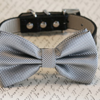 Silver Dog Bow Tie, Pet Wedding accessory, Pet lovers, Silver bow attached to black leather dog collar, Silver wedding idea, Best Man, Wedding gift