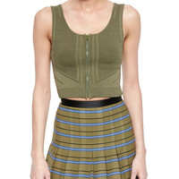 Sleeveless Zip-Front Crop Top, Olive, Size: