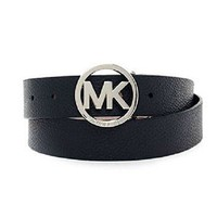 MICHAEL Michael Kors Synthetic Leather Belt (M, Black (MK Buckle))