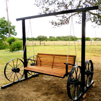 Garden Swing with Customizable Antique Wagon Wheels