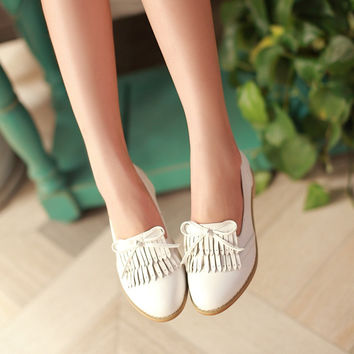 Tassel Bow Women Flats Shoes 3482