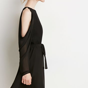 Contemporary Open-Shoulder Chiffon Dress