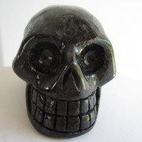 Extremely Rare Greenland Nuummite Carved Crystal Skull