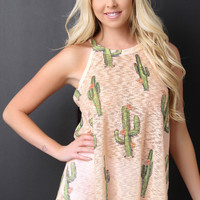 Sleeveless Hacci Knit Cactus Top