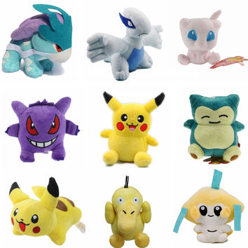 "9 style Pokemon Figure Plush Doll Toy 5.5"" Pikachu Gengar Jirachi Suicune Snorlax Lugia Mewtwo Psyduck Figure Toy Gift"