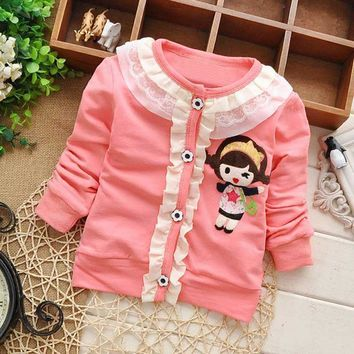 spring autumn kids children baby girls Knitting Cardigan, Long Sleeve Ruffles Lace, Outwear, Coat Jackets S0964