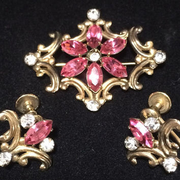 Simmons Gold Filled Earrings Pin Pendant Jewelry Set Pink and Crystal Rhinestone  Antique Revival Mid Century Jewelry 418
