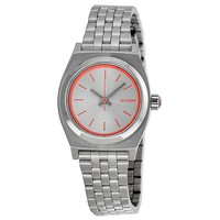 Nixon Small Time Teller  White Dial Stainless Steel Ladies Watch A3991764