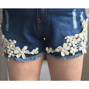visnxgistyle Women low waist jeans shorts lace floral button ripped denim shorts mini hollow out short feminino