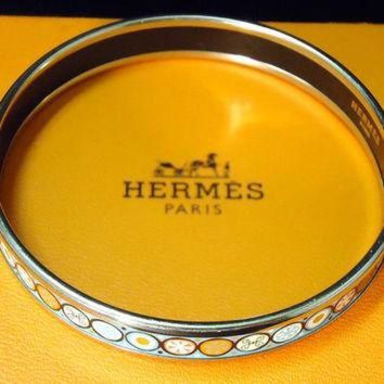 CREY2N Vintage Designer Hermes Enamel Bangle Bracelet With Box Tagre-