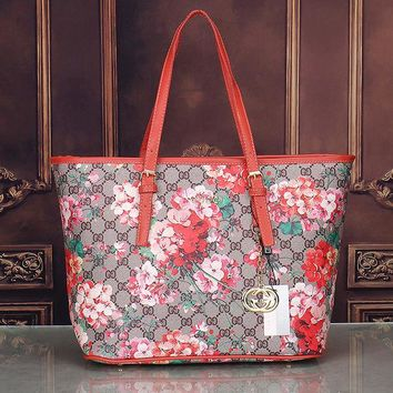 Gucci Women Fashion Casual Leather Flower Print Shopping Tote Handbag Shoulder Bag G