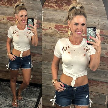 Distressed Crop Knot Top: White