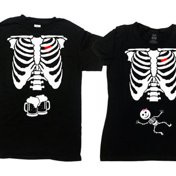 Halloween Costumes For Couples Shirt Expecting Announcement T Shirt Skeleton TShirt Parents To Be His And Hers New Mom Dad To Be - SA339-379