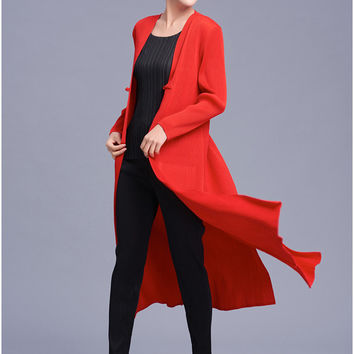 FREE SHIPPING Fashion fold trench coat loose long-sleeved pure color trench coat IN STOCK