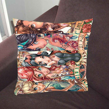 Disney Tattoo Princess - Pillow Case, Pillow Cover, Custom Pillow Case *02*