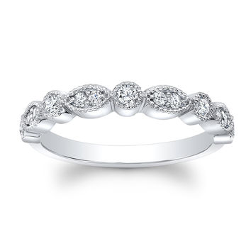 Ladies 14kt white gold antique wedding band 0.20 ctw natural G color VS2 clarity round diamonds