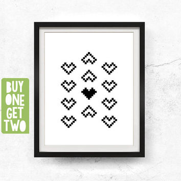 Nordic wall art, Ikat motif, Nordic print, Monochrome print, Ikat art, Southwestern art, Abstract wall art printable, 8x10, 11x14, 16x20