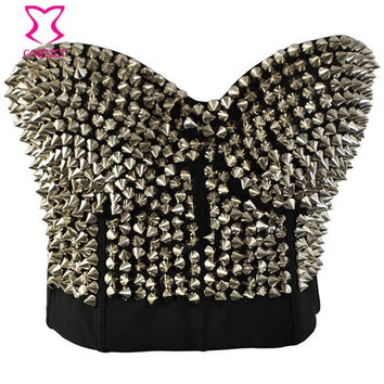 PUNK RAVE SILVER STUDDED RIVET BRA WOMEN SEXY PUSH UP BUSTIER BRA WITH SPIKES SUJETADOR BRASSIERE SEXY LINGERIE ROCK CLUBWEAR