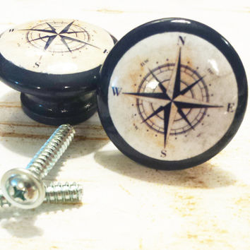 "10 Handmade Nautical Birch Wood Knob Drawer Pulls, Navy Blue Antique Style Compass Cabinet Pull Handles, 1.5"" Dresser Knobs, Made To Order"
