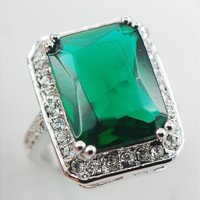 Emerald White Topaz 925 Sterling Silver Ring