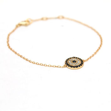Evil eye bracelet, gold evil eye bracelet, dainty bracelet, simple, everyday.