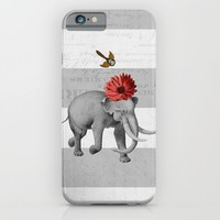 elephant and bird iPhone & iPod Case by Her Art