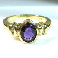 14K Amethyst Diamond Ring Genuine Stones Faced Purple Yellow Gold Oval Channel Set Round Diamonds Engagement Wedding Feb. Birthstone