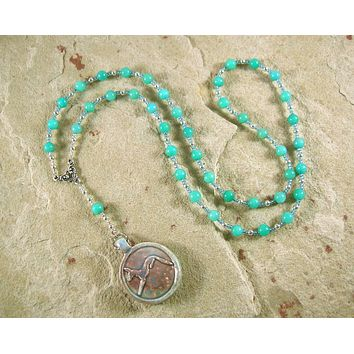 Anubis Prayer Bead Necklace in Amazonite: Egyptian God of the Underworld, Guardian of the Dead