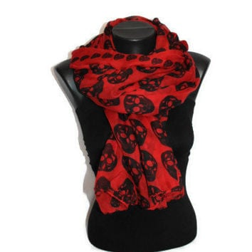 Skull Scarf - Red - Fashion Scarf - Unique Scarf - Oversize Shawl - Skull Print - Trendy Fabric Scarf -  Spring Trends - Gift Idea