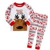 Baby Boys Girls Christmas Reindeer Home Sleepwear Set Kid Pajamas Nightwear 2-8Y