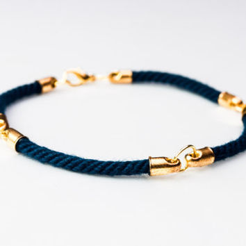 Four quarter nautical rope bracelet - Navy