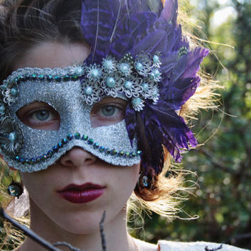 Purple mask Silver Masquerade Ball Mask Purple Feather Green Bead blue pearls metal flowers Halloween Mardi Gras Venitian Mask prom RECKLESS