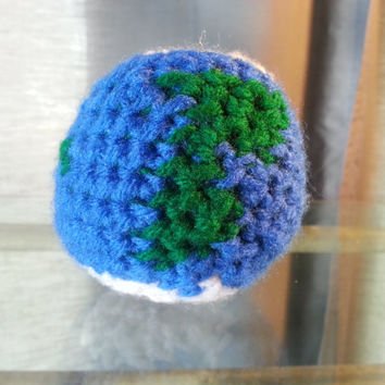 Crochet Earth Globe, Space Solar System, Plush Stuffed Geek Toy, Made to Order