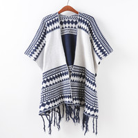 Knit Sweater Stripes Scarf Jacket [9101520711]