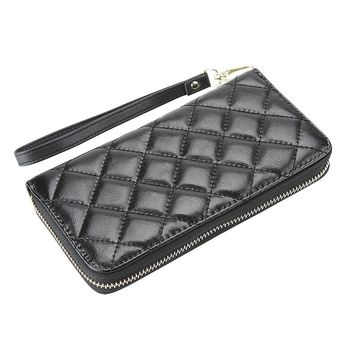 Nuo Peng Genuine Leather Clutch Wallet, Wristlet Wallet with Diamond Texture Quilted Material Fit for all Cellphones (Black)
