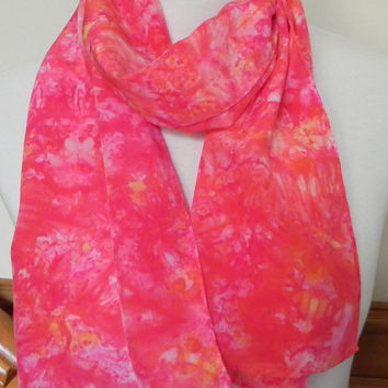 Long Crepe Silk Scarf Hand Dyed Cherry Red and Coral Abstract, Ready to Ship