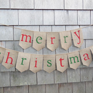 Merry Christmas Burlap Banner, Merry Christmas Bunting, Christmas Decor, Holiday Decor, Burlap Bunting Garland, Rustic Christmas, Photo Prop