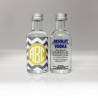 100 Custom Absolut Vodka Mini Bottle Labels Chevron Monogram Wedding Favors Thank You Reception Party Celebration Bridal Shower Rehearsal