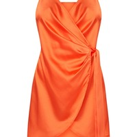 Orange Satin Halterneck Wrap Bodycon Dress