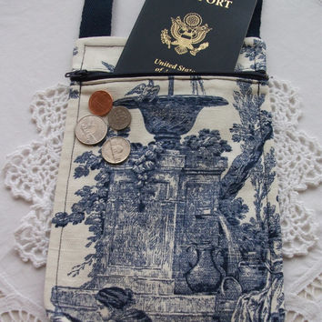 Crossbody Pouch French Toile Passport Holder Small Travel Pouch Neck Wallet Minimalist Small Purse Fabric Handmade
