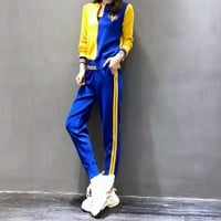 """""""Gucci"""" Women Fashion Casual Embroidery Multicolor Tiger Head Long Sleeve Cardigan Sweater Trousers Set Two-Piece Sportswear"""