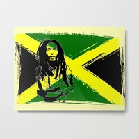 Feeling Rasta - Green - Rastafarian stencil artwork, jamaica flag, reggae music, positive vibration Metal Print by hmdesignspl