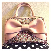 Betsey Johnson Pink Fairy Bow Satchel Purse Bag